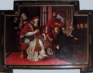 """English: """"Paul III approving the Society ..."""