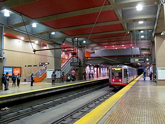 Church station (Muni Metro) - Inbound T Third Street train at Church station in 2017