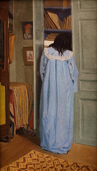 Intérieur, femme en bleu fouillant dans une armoire - Félix Vallotton