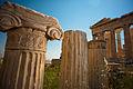 Ionic order fragment against Parthenon, Athenian Acropolis rear facade. Athens, Greece.jpg