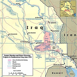 Zanj Rebellion - A map of the Mesopotamian Marshes.