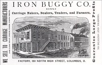 Columbus Buggy Company - A drawing of the first home of the Iron Buggy Co., the predecessor of the Columbus Buggy Co., at 180 North High Street in Columbus.