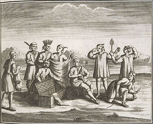 French and Indian War - Iroquois engaging in trade with colonists, 1722