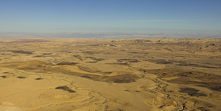 Aerial view of Makhtesh Ramon, an erosion cirque of a type unique to the Negev Israel-2013-Aerial 00-Negev-Makhtesh Ramon.jpg