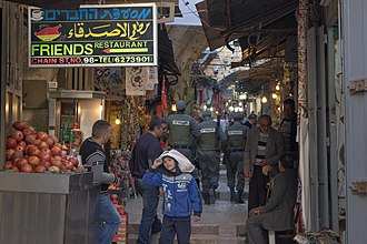 Israeli–Palestinian conflict (2015–2016) - Israeli police on patrol in Jerusalem's Old City, February 2016