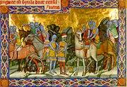 A Képes Krónika egyik illusztrációja: István király elfogatja Gyula erdélyi vezért 1002-ben.