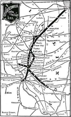 Chicago, Peoria and St. Louis Railroad - Map of the Jacksonville Southeastern Line, including the through service to Chicago
