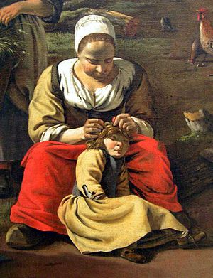 Treatment of human head lice - Mother hunting for headlice, detail of a painting by Jan Siberechts