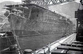Kure Naval Arsenal - Aircraft Carrier Sōryū nearing completion, 1937