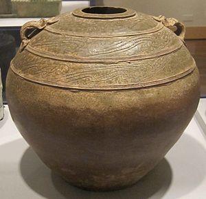 Stoneware - Glazed Chinese stoneware storage jar from the Han Dynasty
