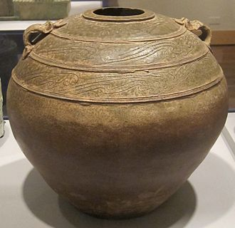 Stoneware - Glazed Chinese stoneware storage jar from the Han Dynasty