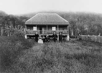 Charlwood, Queensland - Jensen house, Charlwood, 1898. Pictured are Mr and Mrs Reiner Jensen with sons Peter and Claus, daughter Ida (Mrs Turner) and grandson James Turner.
