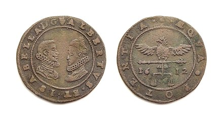 Jeton with portraits of the Archdukes Albert VII, Archduke of Austria and Infanta Isabella of Spain, struck in Antwerp 1612. Obv: Portraits of Albert and Isabella. Rev: Eagle holding balance, date 1612. Jeton Brabant Antwerpen Albert Isabella 1612.jpg