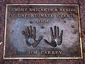 Jim Carrey's handprints, looking like cartoon ...