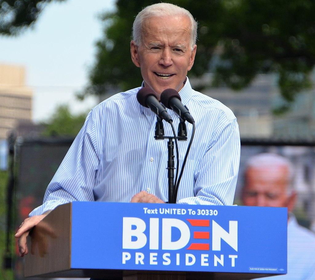 Biden at his presidential kickoff rally in Philadelphia, May 2019
