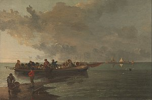 John Crome - Image: John Crome A Barge with a Wounded Soldier Google Art Project