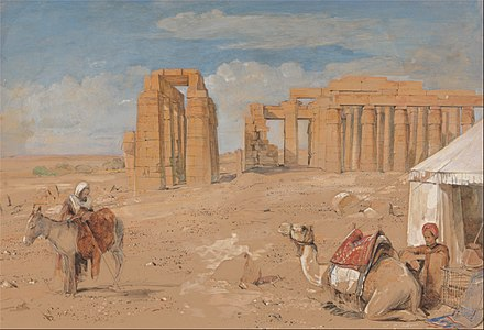 The Ramesseum at Thebes, by John Frederick Lewis, c. 1845 (Yale Center for British Art, New Haven) John Frederick Lewis - The Ramesseum at Thebes - Google Art Project.jpg