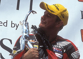 2007 Isle of Man TT - John McGuinness with the Senior Tourist Trophy