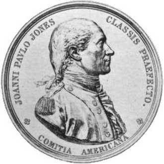 Congressional Gold Medal - Etching of medal awarded to John Paul Jones, only Continental Navy officer to be awarded a gold medal.