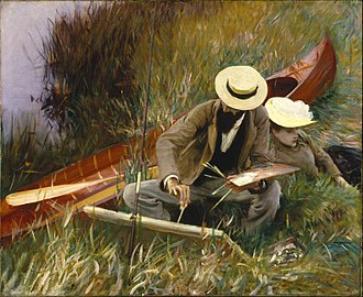 John Singer Sargent - An Out-of-Doors Study, 1889, depicting Paul César Helleu sketching with his wife Alice Guérin. The Brooklyn Museum, New York.