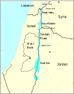 The Jordan River runs along the border between Israel and the Kingdom of Jordan