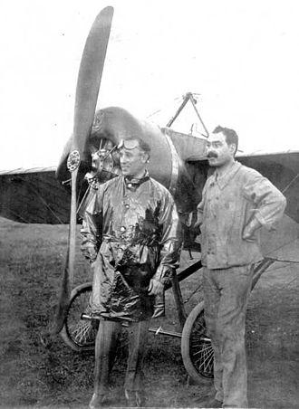 Jorge Newbery - Jorge Newbery in front of his Morane-Saulnier monoplane.