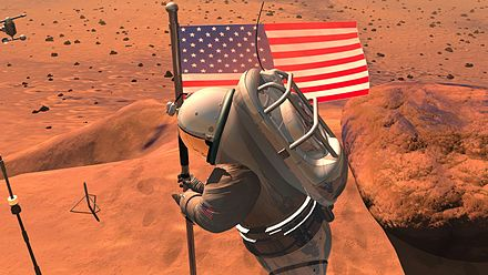 An artist's conception, from NASA, of an astronaut planting a US flag on Mars. A human mission to Mars has been discussed as a possible NASA mission since the 1960s. Jsc2004e18852.jpg