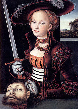 Judith beheading Holofernes - Judith with the Head of Holofernes by Lucas Cranach the Elder, 1530