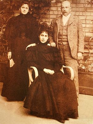 Jules Porgès - Jules Porgès with wife Anna and daughter