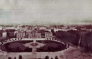 Reichstag building - The Königsplatz with the Raczyński Palace in 1880 (Brandenburg Gate at right)