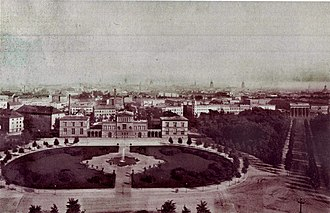 Platz der Republik (Berlin) - Eastern portion of the Königsplatz with the Palais Raczynski. Photographed from the Victory Column, about 1880