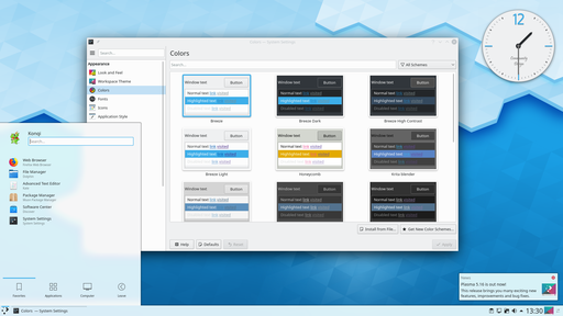 A screenshot of the KDE Plasma 5 graphical user interface. Programs take the form of images on the screen, and the files, folders (directories), and applications take the form of icons and symbols. A mouse is used to navigate the computer. KDE Plasma 5.16.png