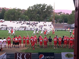Klamath Falls, Oregon - Klamath Union High School (KU) 2013 football team in action.