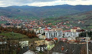 Kamenica, Kosovo - Panorama of the town of Kamenica