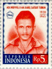 Karel Satsuit Tubun 1966 Indonesia stamp.jpg