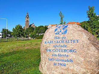 IFK Göteborg - The memorial stone at Karlsrofältet.