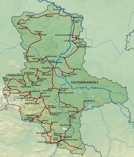 Karte Straße der Romanik