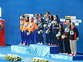 Kazan 2015 - Victory Ceremony 4×100 metres freestyle relay MIXED.JPG