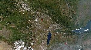 Soyot - Lake Khövsgöl (bottom center, Mongolia), Lake Baikal, and the Sayan Mountains