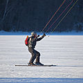 Kite skiing on ice 29 January 2011 in Broknas, Vaxholm, Stockholm closeup.jpg