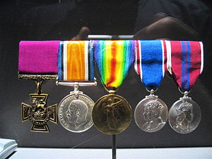 Filip Konowal - Konowal's medals at the Canadian War Museum. From the left: the Victoria Cross, British War Medal, Victory Medal, George VI Coronation Medal, Elizabeth II Coronation Medal
