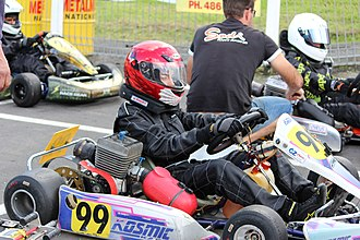 Go-kart - A driver with a 2008 Kosmic TS28 on the grid at KartSport Mt Wellington, New Zealand
