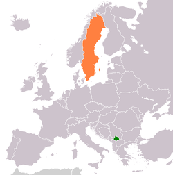 Map indicating locations of Kosovo and Sweden
