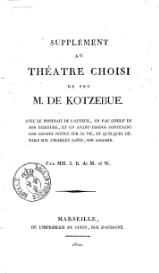Kotzebue - Supplement au theatre choisi.djvu
