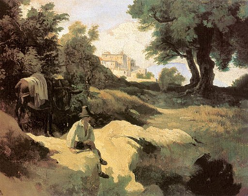 Kovács Italian Landscape with a Boy and an Ass 1843