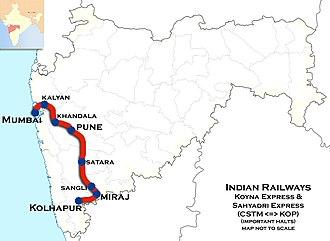 Sahyadri Express - Image: Koyna Express and Sahyadri Express Route map