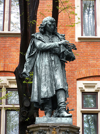 Copernican heliocentrism - Statue of Copernicus next to Cracow University's Collegium Novum
