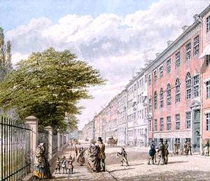 Kronprinsessegade - Kronprinsessegade painted by H. G. F. Holm in c. 1845
