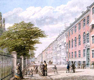 Kronprinsessegade - Kronprinsessegade painted by H. G. F. Holm in c. 1845
