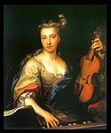 Kupecky, Jan - Portrait of a women with a treble viol, c. 1720.jpg